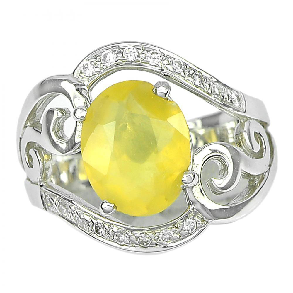 5.89 G. Natural Gemstone Yellow Opal Real 925 Sterling Silver Ring Size 7.5