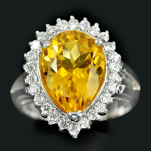 7.41 G. Alluring Natural Gem Yellow Citrine 925 Sterling Silver Ring Sz 7