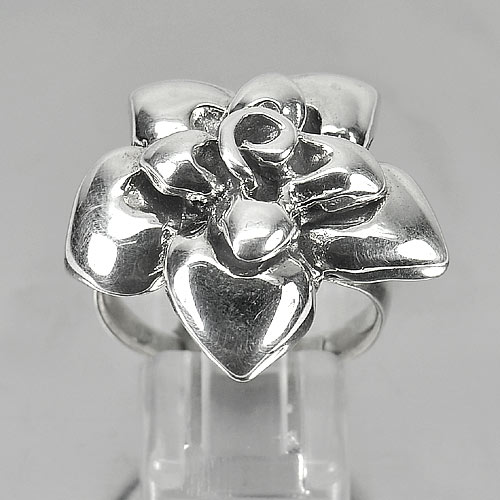 11.64 G. Real 925 Sterling Silver Jewelry Ring Size 9 Flower Design