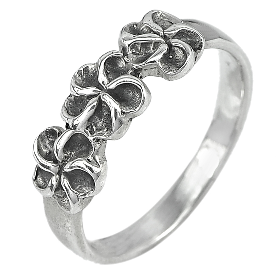 2.92 G. Delightful Real 925 Sterling Silver Jewelry Ring Size 7.5 Design Flower