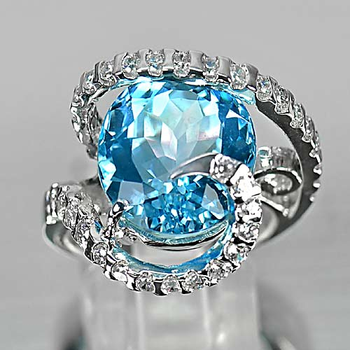 10.89 G. Lovely Natural Swiss Blue Topaz 925 Sterling Silver Ring Sz 6.5