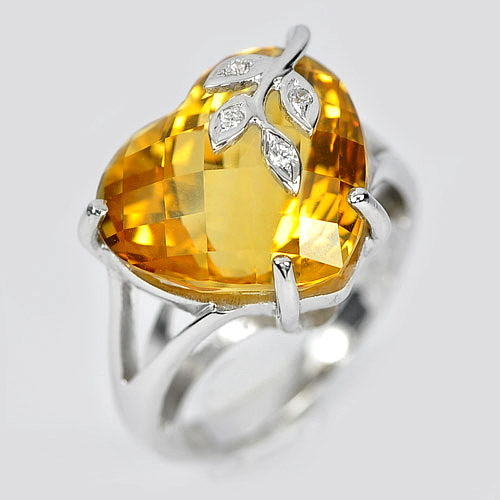 13.19 Ct Beautiful Natural Citrine 925 Sterling Silver Jewelry Ring Size 6