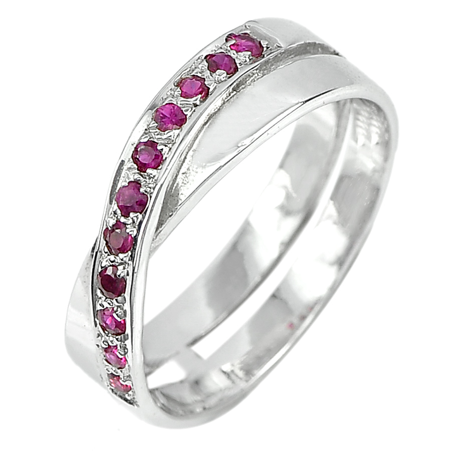 3.19 G. Natural Gems Red Pink Ruby Real 925 Sterling Silver Jewelry Ring Size 7