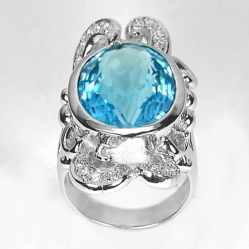 16.66 G. Nice Natural Swiss Blue Topaz 925 Sterling Silver Jewelry Ring Sz 8