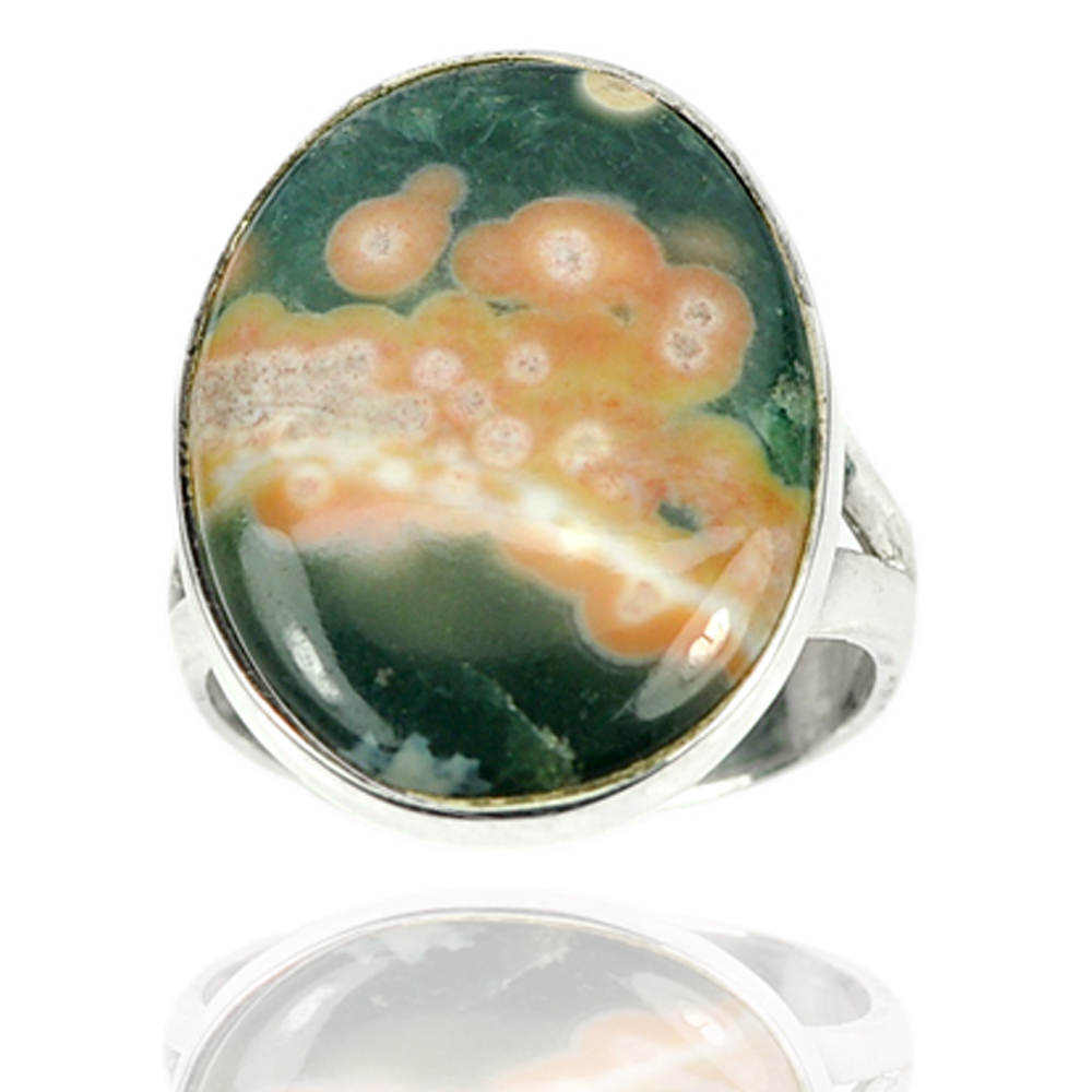 Natural Multi Color Ocean Jasper Real 925 Sterling Silver Jewelry Ring Size 7.5