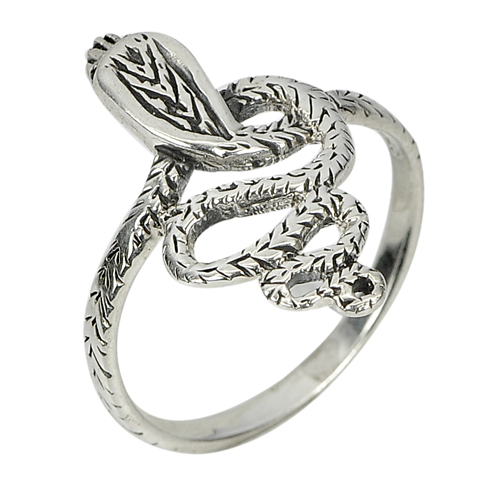 2.74 G. Snake Design Real 925 Sterling Silver Oxidize Jewelry Ring Size 8
