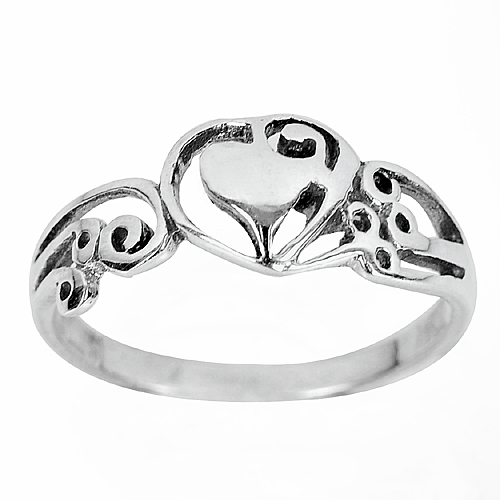 2.25 G. Heart Design Jewelry Real 925 Sterling Silver Ring Size 9