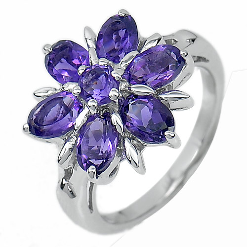 4.91 G. Natural Gems Purple Amethyst Real 925 Sterling Silver Ring Size 7