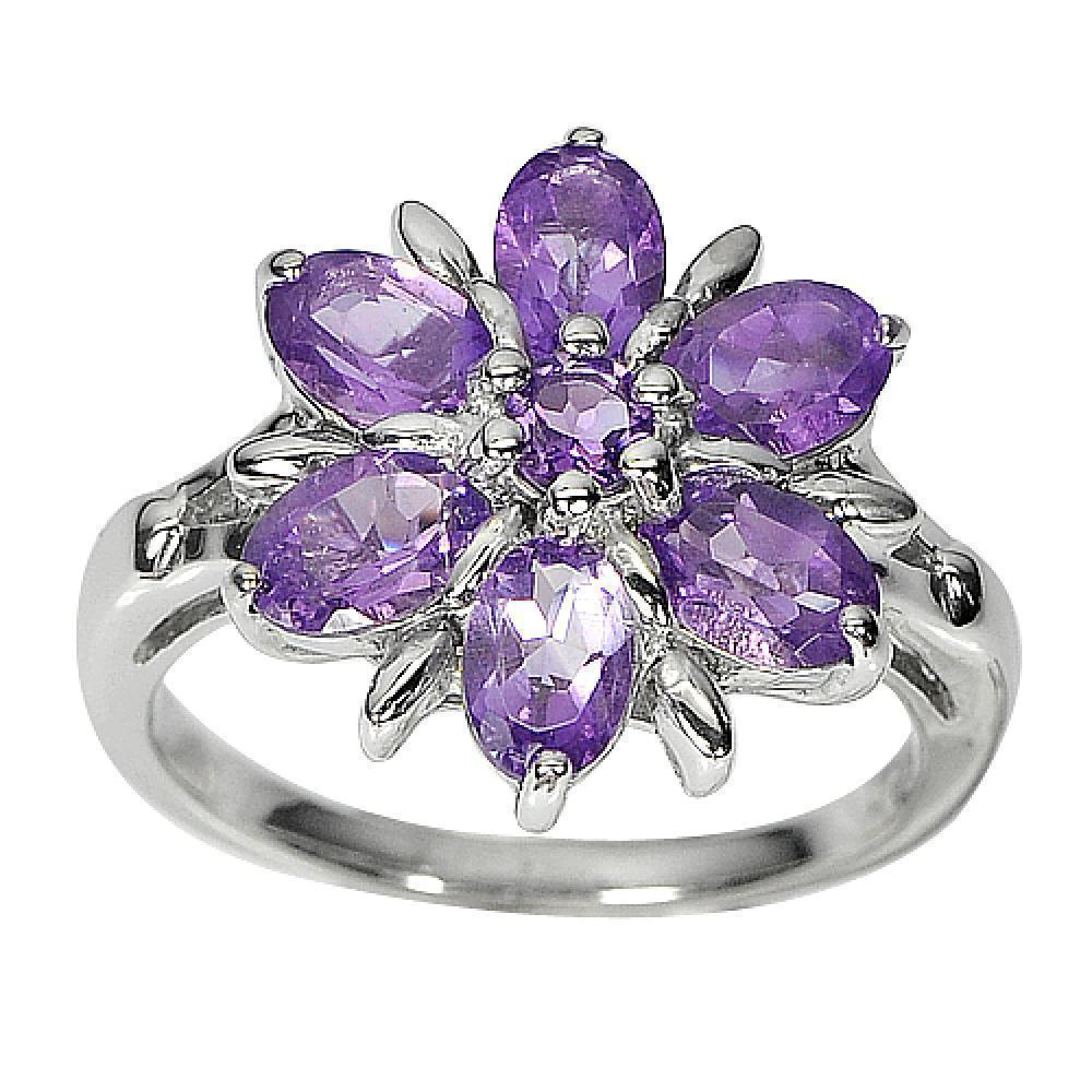 5.15 G. Natural Gems Purple Amethyst Real 925 Sterling Silver Ring Size 8