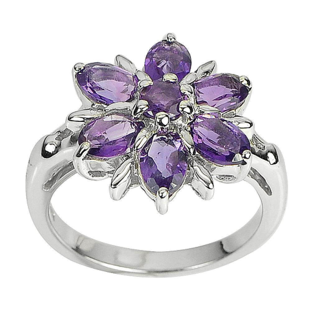 5.25 G. Natural Purple Amethyst Gems Real 925 Sterling Silver Ring Size 8