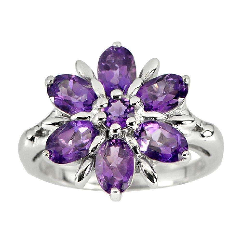 4.87 G. Natural Purple Amethyst Gemstone Real 925 Sterling Silver Ring Size 7