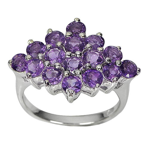 4.78 G. Natural Gems Round Purple Amethyst Real 925 Sterling Silver Ring Size 7