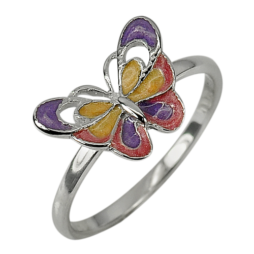 1.93 G. Lovely Butterfly Enamel Design 925 Sterling Jewelry Silver Ring Sz 8