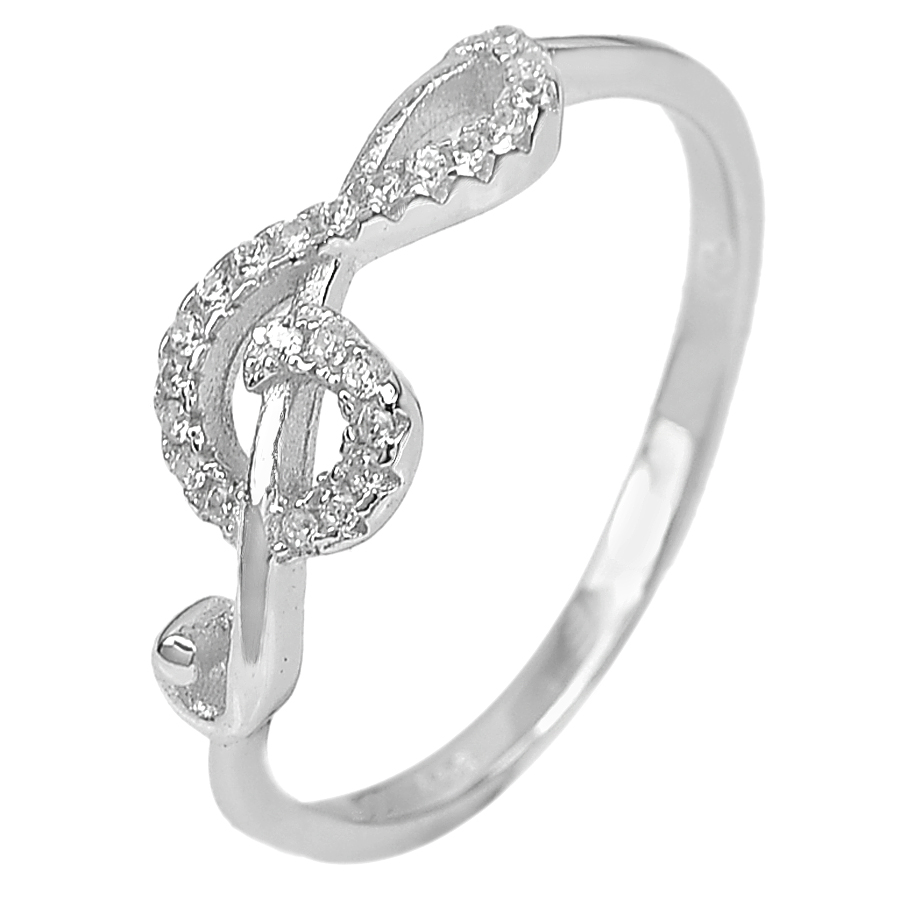 1.65 G. Fashion Lovely Music Note Ring Size 8 Real 925 Sterling Silver Jewelry