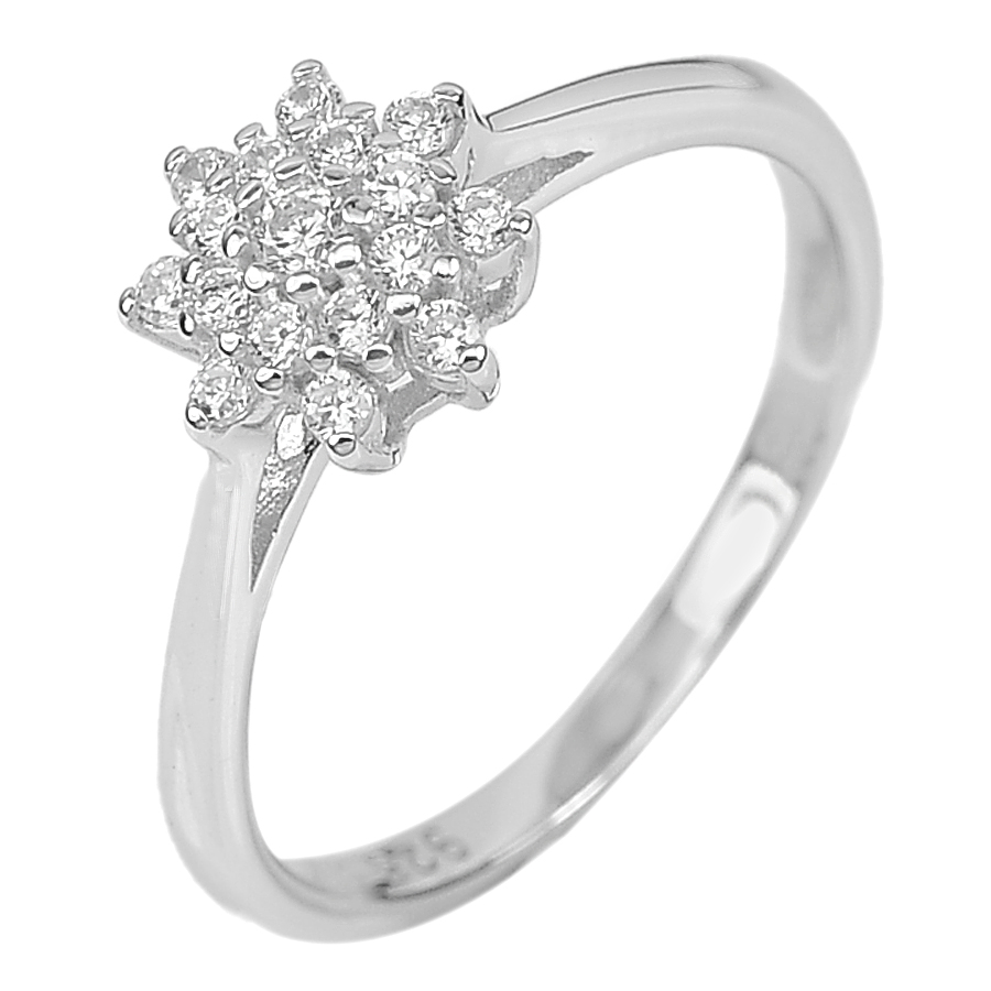 1.78 G. Charming Round White CZ Real 925 Sterling Silver Jewelry Ring Size 6.5