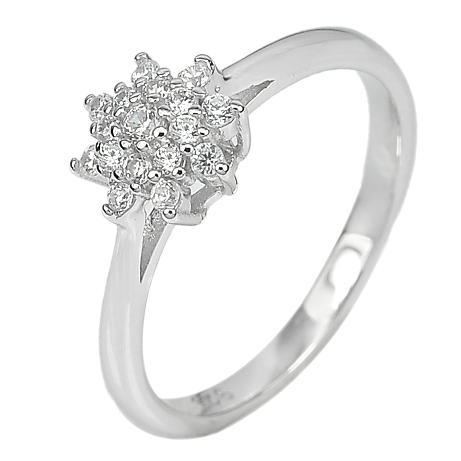 1.84 G. Beautiful Round White CZ Real 925 Sterling Silver Jewelry Ring Size 6