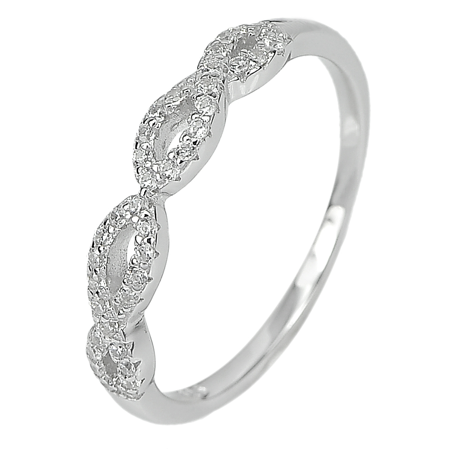 1.74 G. Alluring Round White CZ Real 925 Sterling Silver Jewelry Ring Size 6.5