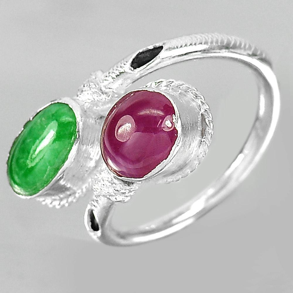 3.26 G. Oval Cabochon Natural Green Jade Red Ruby 925 Sterling Silver Ring Size7