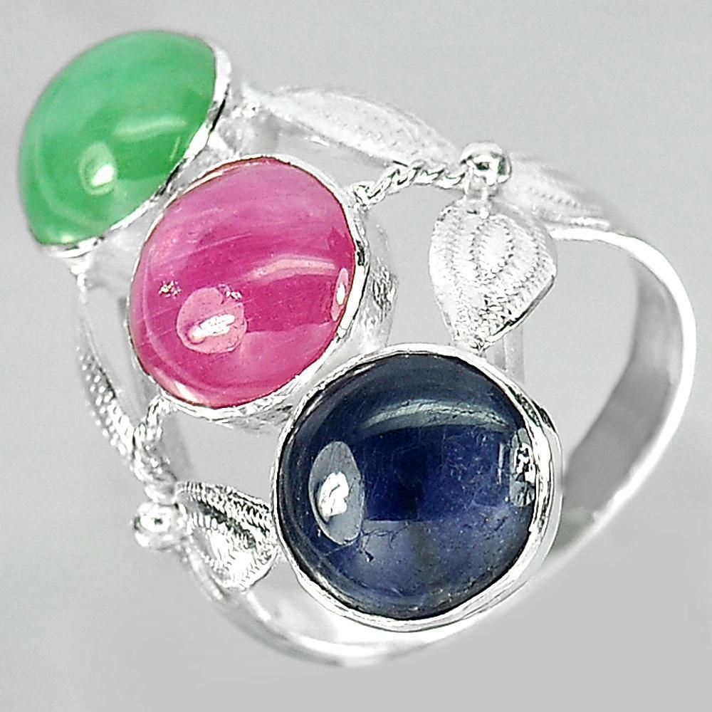 4.29 G. Natural Green Jade Red Ruby Blue Sapphire Sterling Silver Ring Size 6.5
