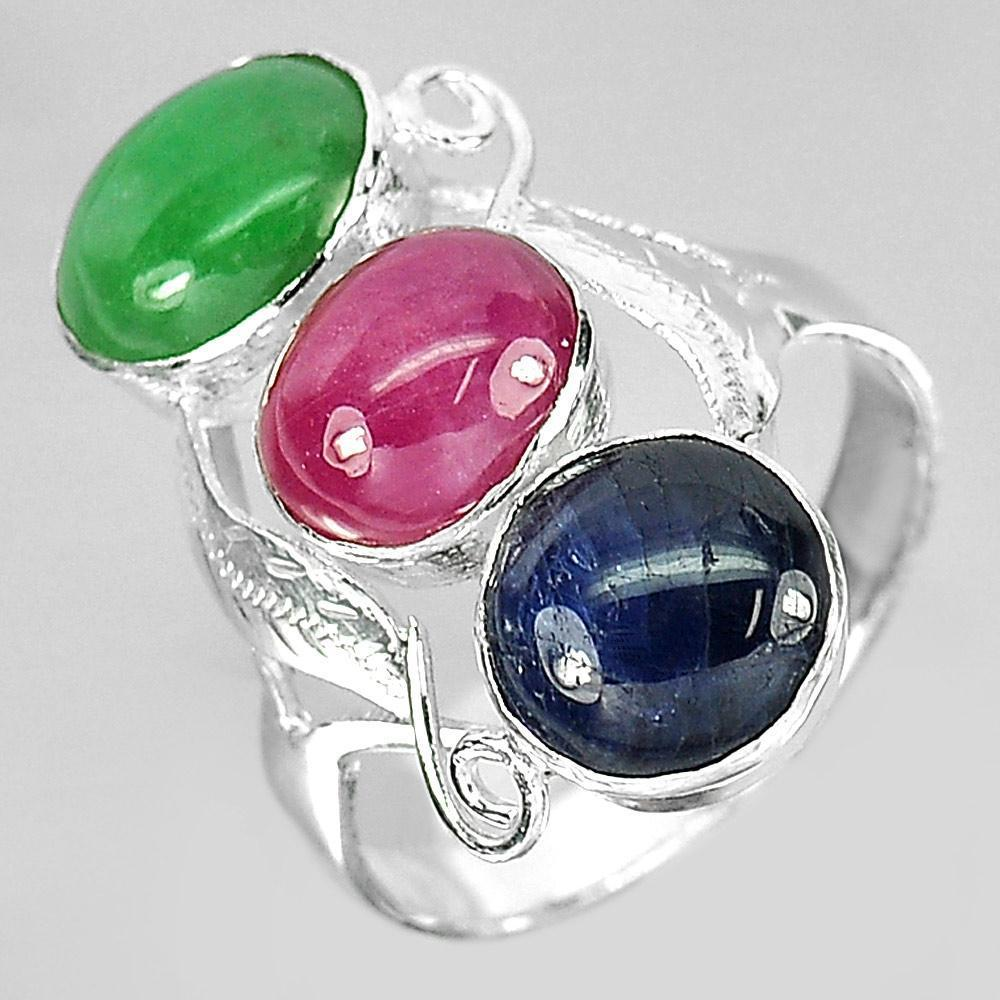 4.02 G. Natural Green Jade Red Ruby Blue Sapphire Sterling Silver Ring Size 7.5