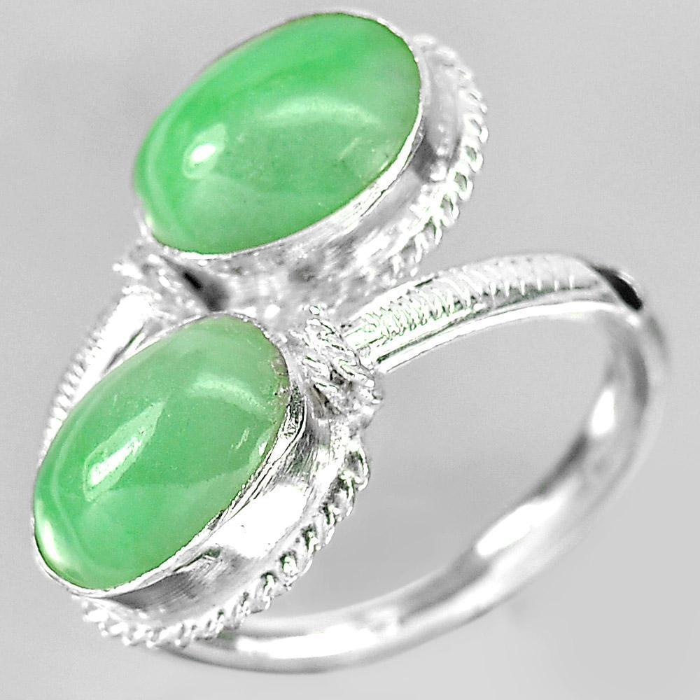 3.77 G. Natural Oval Cabochon Green Color Jade 925 Sterling Silver Ring Size 7.5