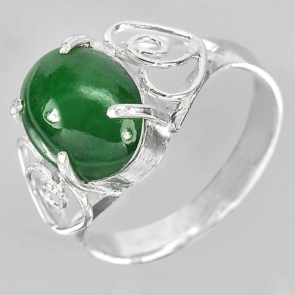 3.09 G. Oval Cabochon Natural Gem Green Jade 925 Sterling Silver Ring Size 7