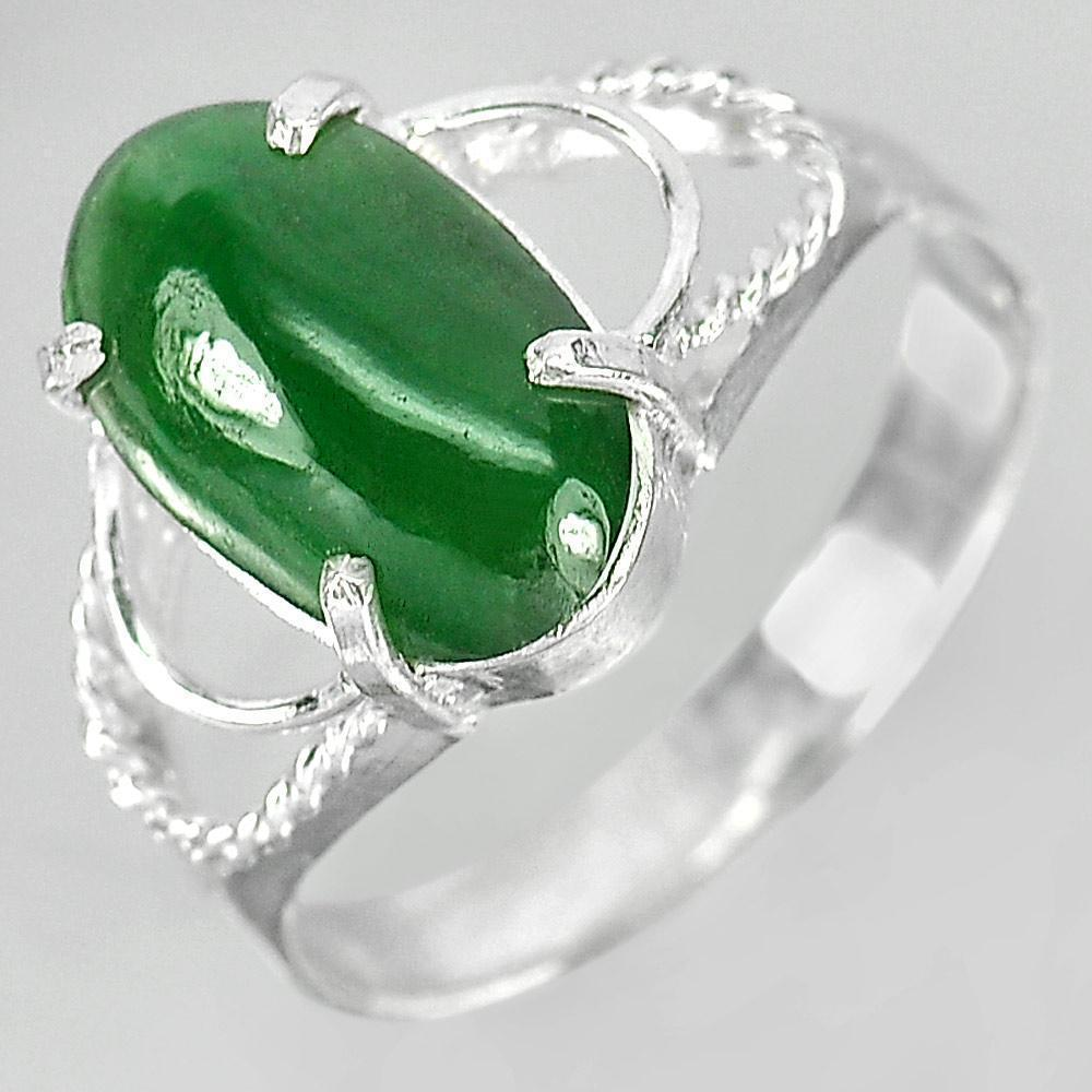 2.78 G. Natural Oval Cabochon Green Color Jade 925 Sterling Silver Ring Size7.5