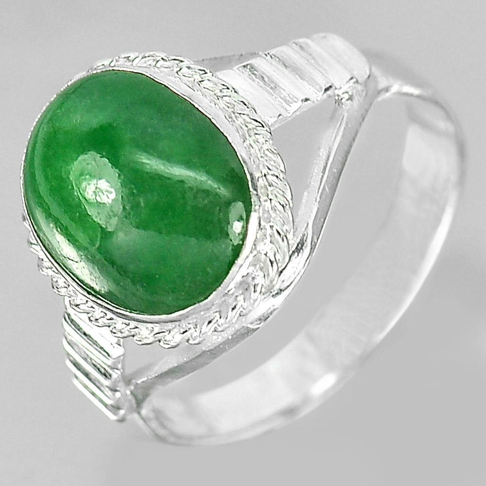 3.12 G. Oval Cabochon Natural Gem Green Jade 925 Sterling Silver Ring Size 7