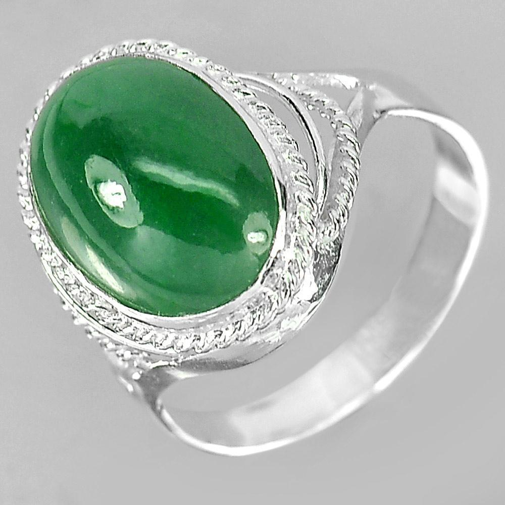 3.54 G. Oval Cabochon Natural Gem Green Jade 925 Sterling Silver Ring Size 7.5