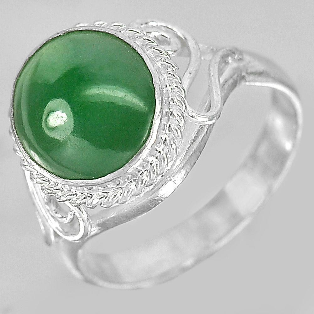 3.11 G. Oval Cabochon Natural Gem Green Jade 925 Sterling Silver Ring Size 5.5