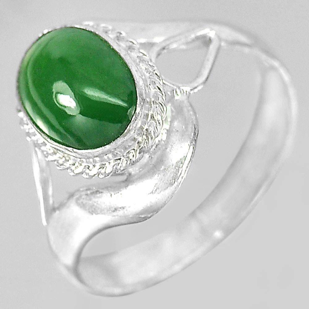 2.62 G. Natural Oval Cabochon Green Color Jade 925 Sterling Silver Ring Size 6
