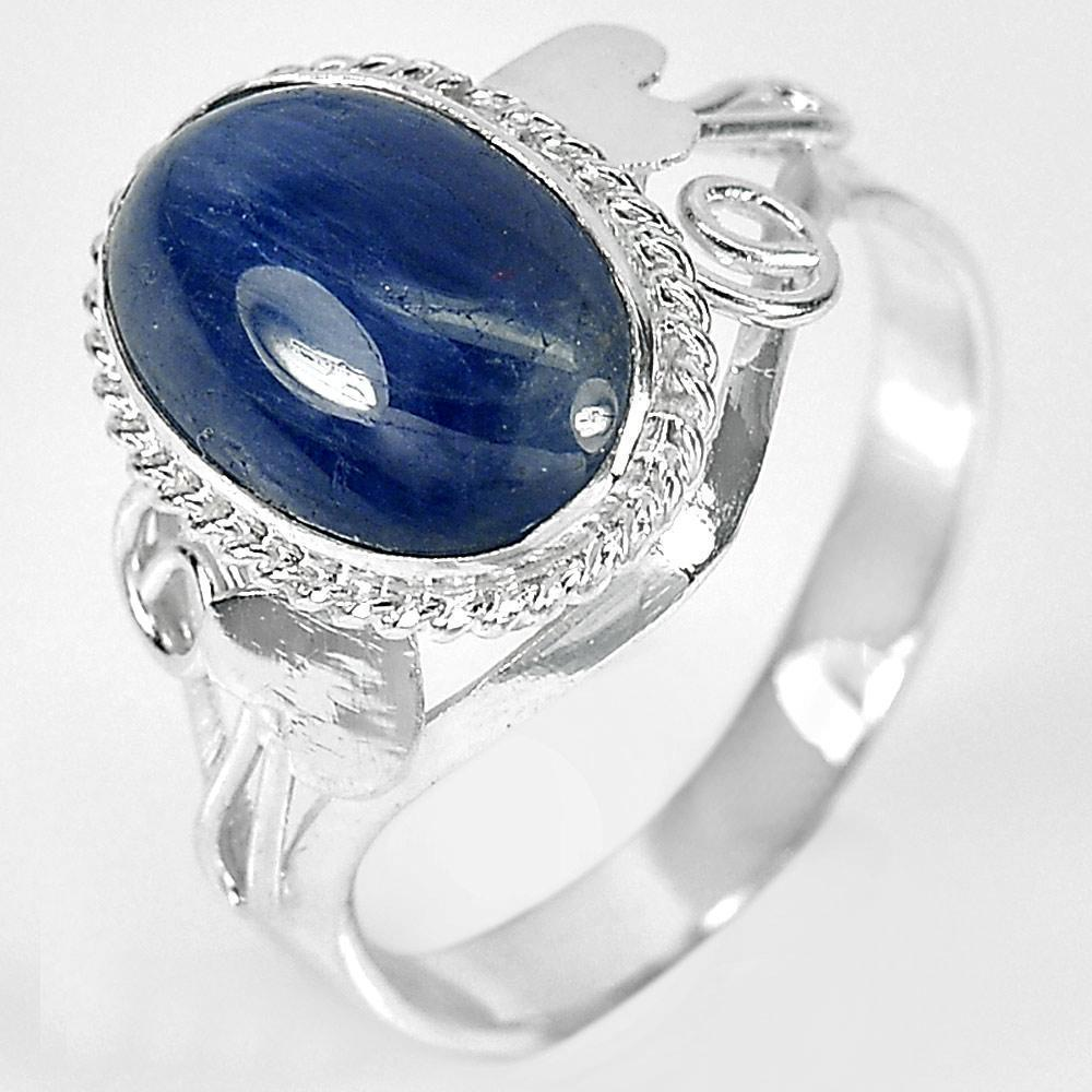 3.26 G. Oval Cabochon Natural Blue Sapphire 925 Sterling Silver Ring Size 7.5