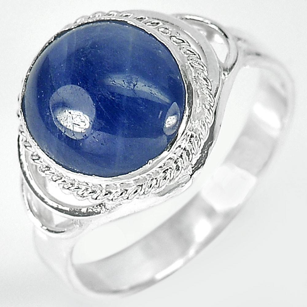 2.88 G. Oval Cabochon Natural Blue Sapphire 925 Sterling Silver Ring Size 6.5
