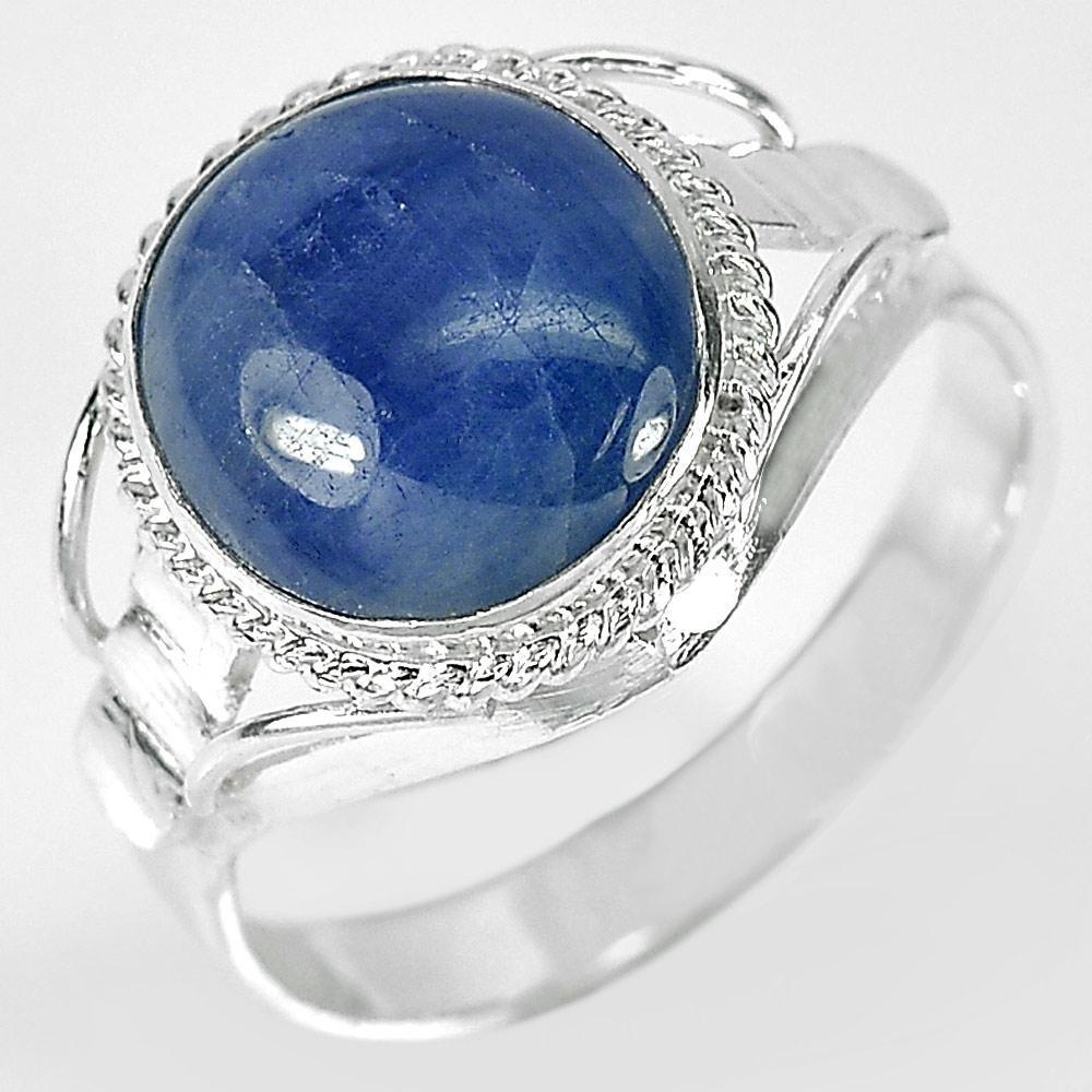 3.49 G. Oval Cabochon Natural Blue Sapphire 925 Sterling Silver Ring Size 8