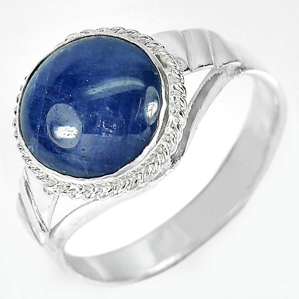 3.26 G. Round Cabochon Natural Blue Sapphire 925 Sterling Silver Ring Size 7.5