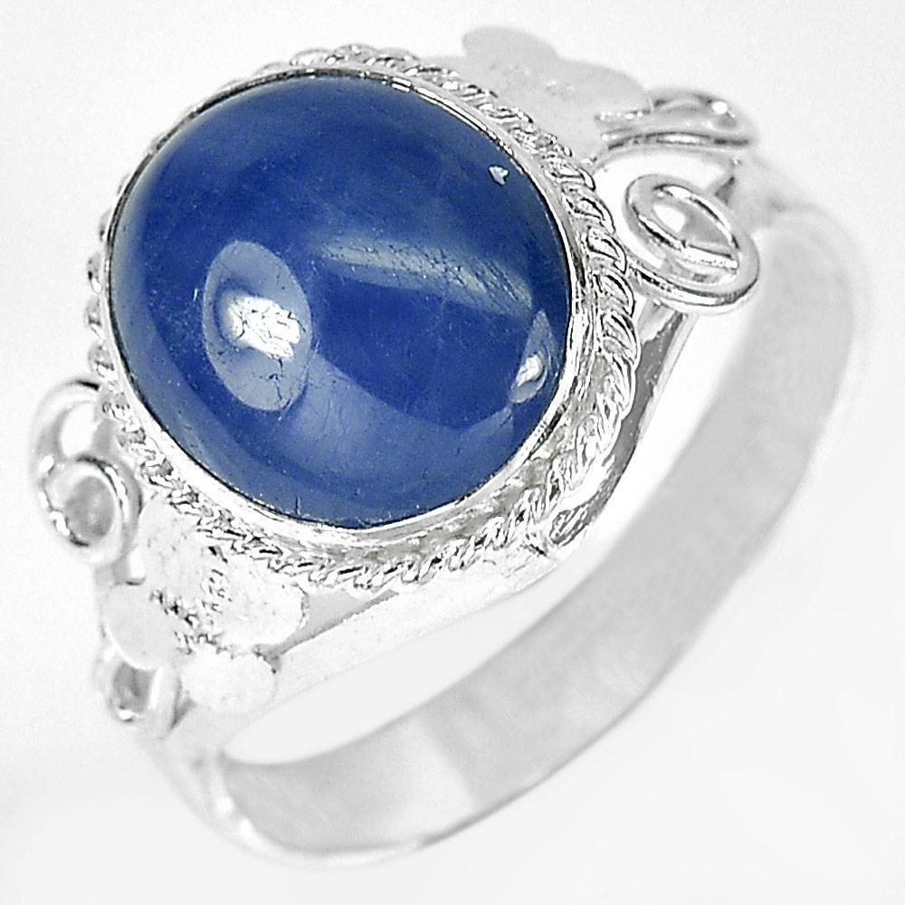 3.27 G. Oval Cabochon Natural Blue Sapphire 925 Sterling Silver Ring Size 7.5