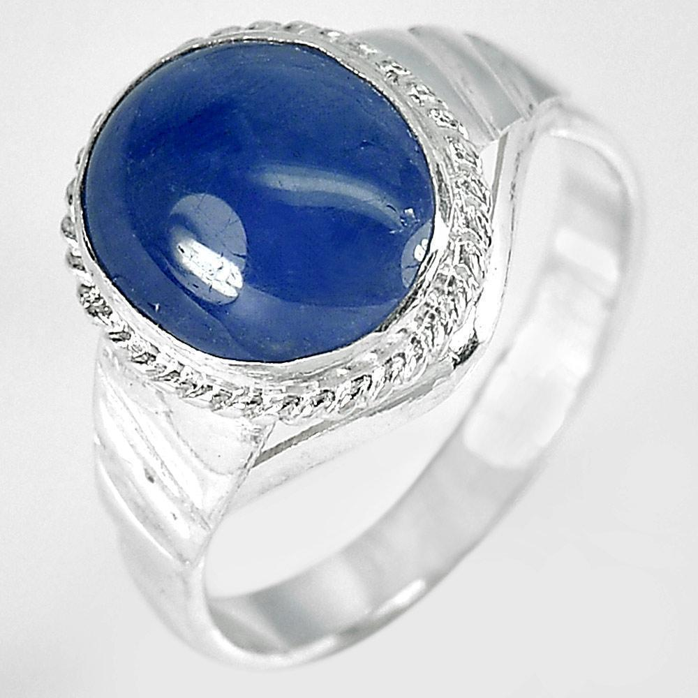 2.81 G. Oval Cabochon Natural Blue Sapphire 925 Sterling Silver Ring Size 6.5