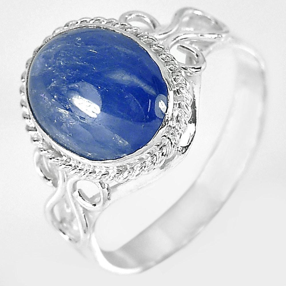2.99 G. Oval Cabochon Natural Blue Sapphire 925 Sterling Silver Ring Size 7