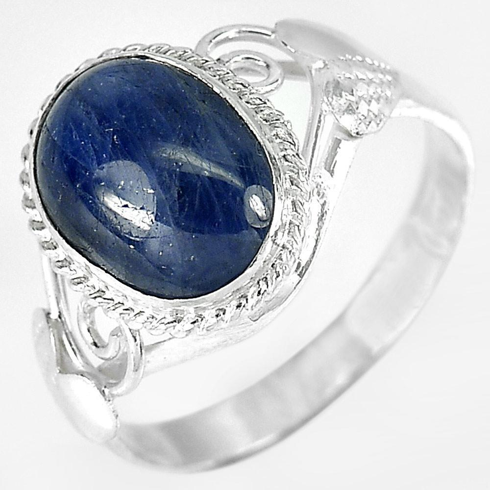 2.94 G. Oval Cabochon Natural Blue Sapphire 925 Sterling Silver Ring Size 7.5