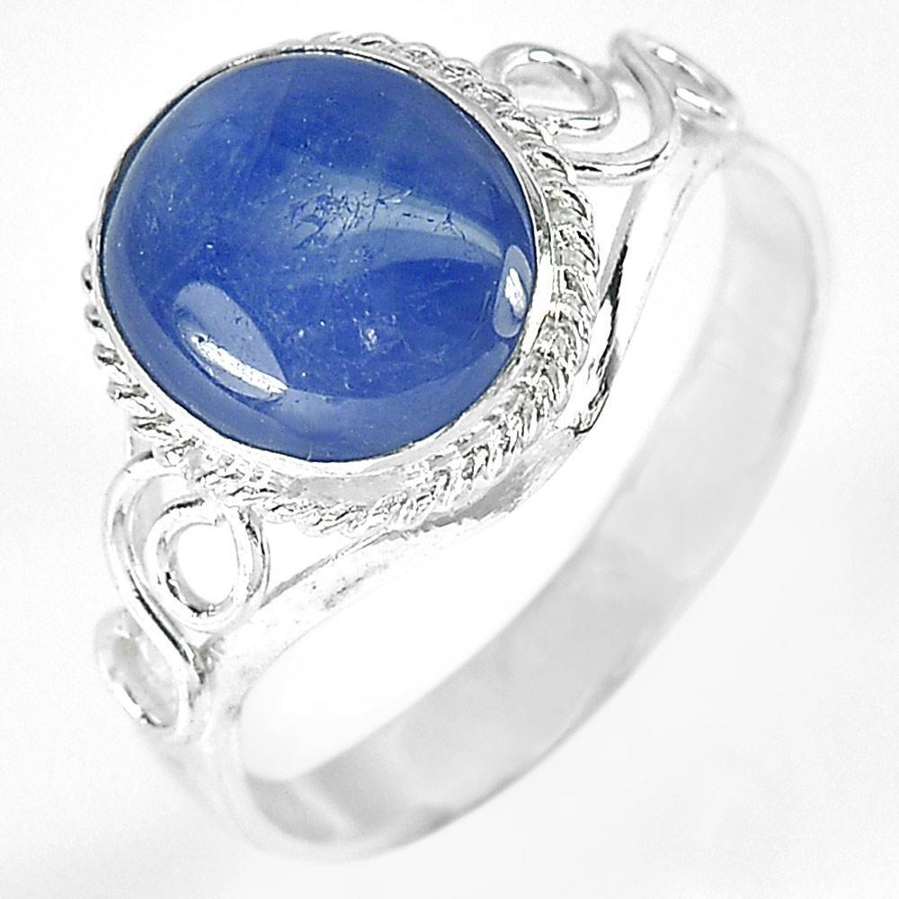 2.58 G. Oval Cabochon Natural Blue Sapphire 925 Sterling Silver Ring Size 8