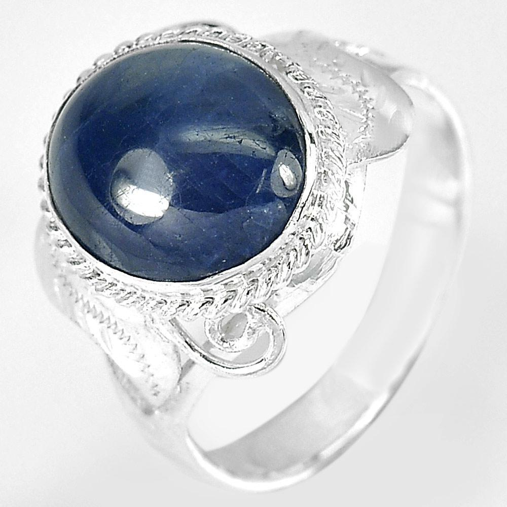 3.50 G. Oval Cabochon Natural Blue Sapphire 925 Sterling Silver Ring Size 7