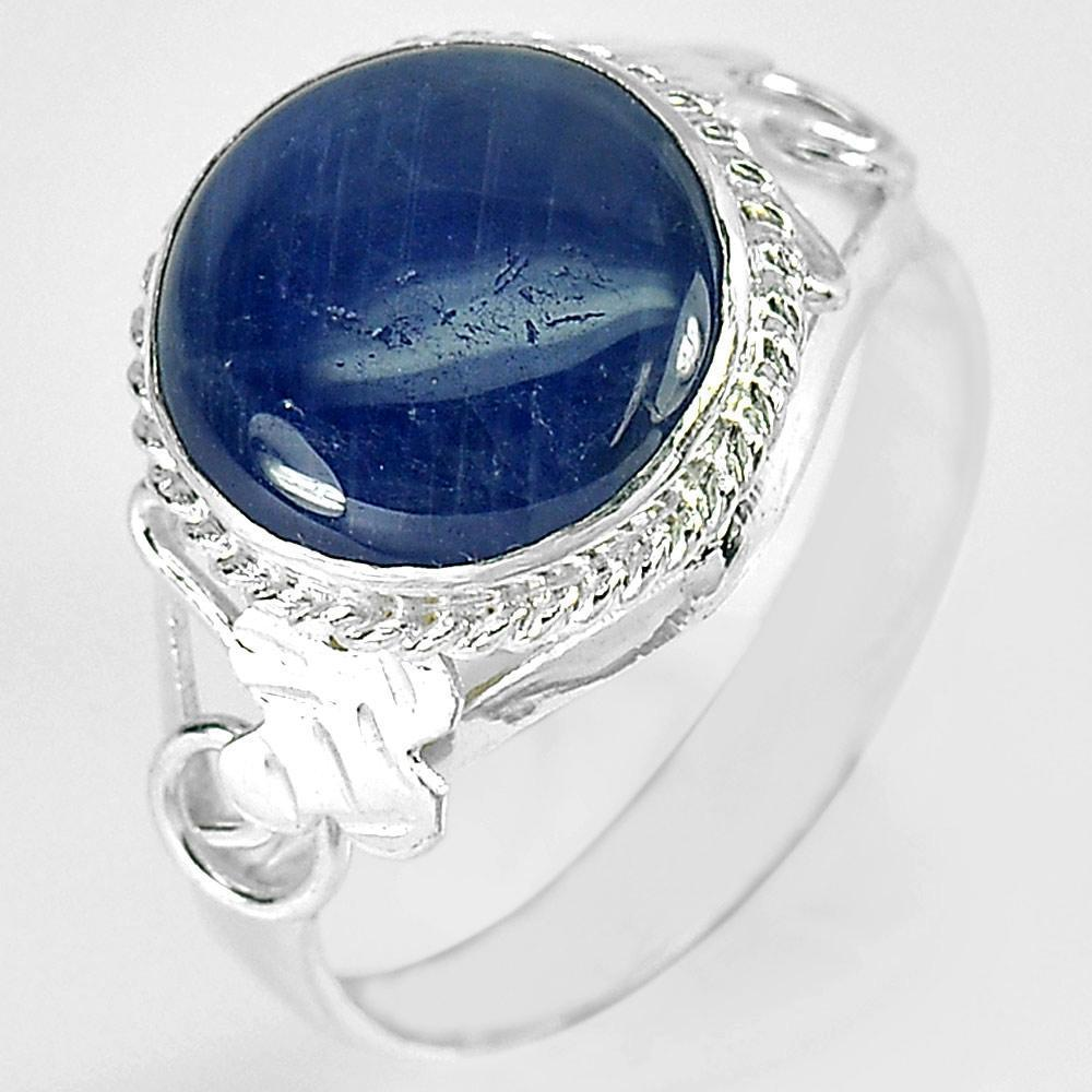 3.02 G. Oval Cabochon Natural Blue Sapphire 925 Sterling Silver Ring Size 6.5