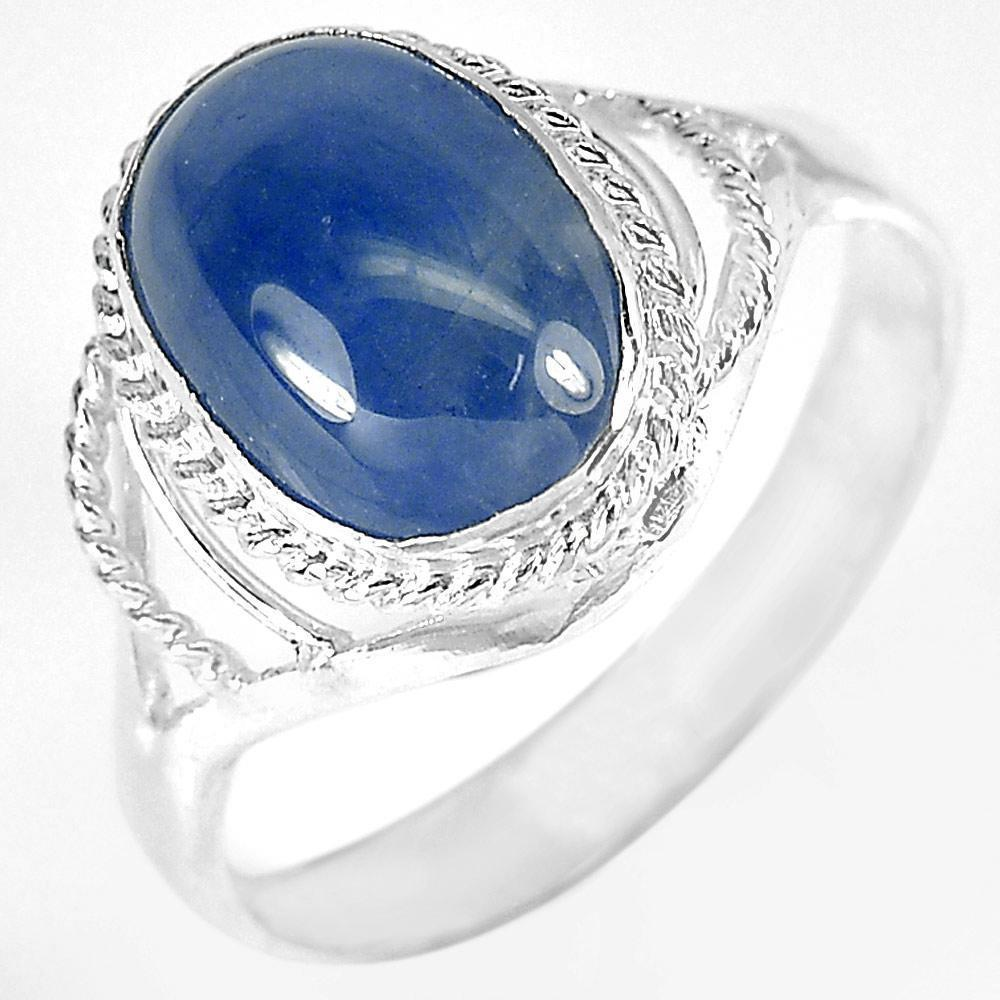 3.21 G. Oval Cabochon Natural Blue Sapphire 925 Sterling Silver Ring Size 8