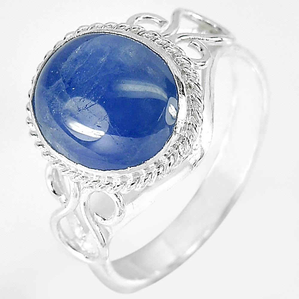 3.10 G. Oval Cabochon Natural Blue Sapphire 925 Sterling Silver Ring Size 6.5