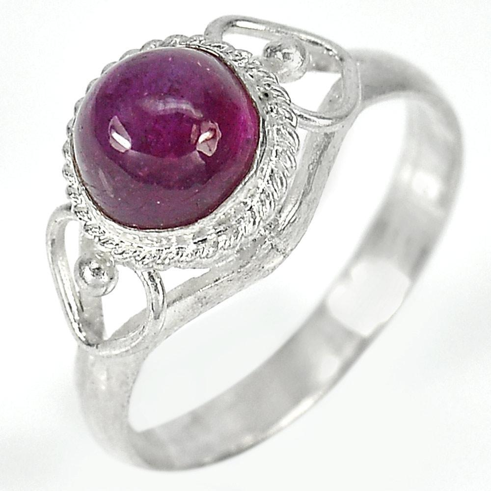 2.57 G. Oval Cabochon Natural Gemstone Red Ruby 925 Sterling Silver Ring Size7.5
