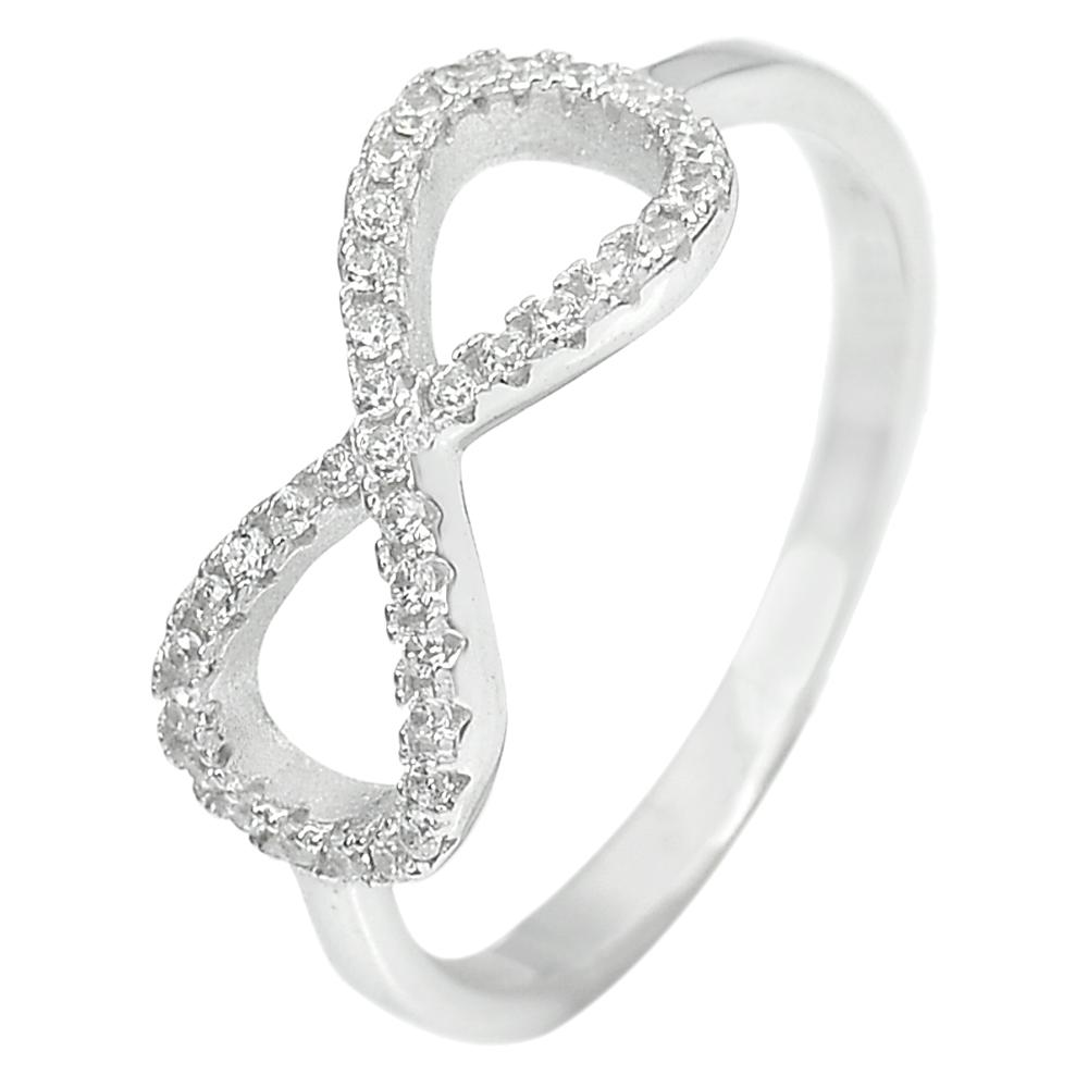 2.04 G. Round Shape White CZ Real 925 Sterling Silver Jewelry Ring Size 8.5