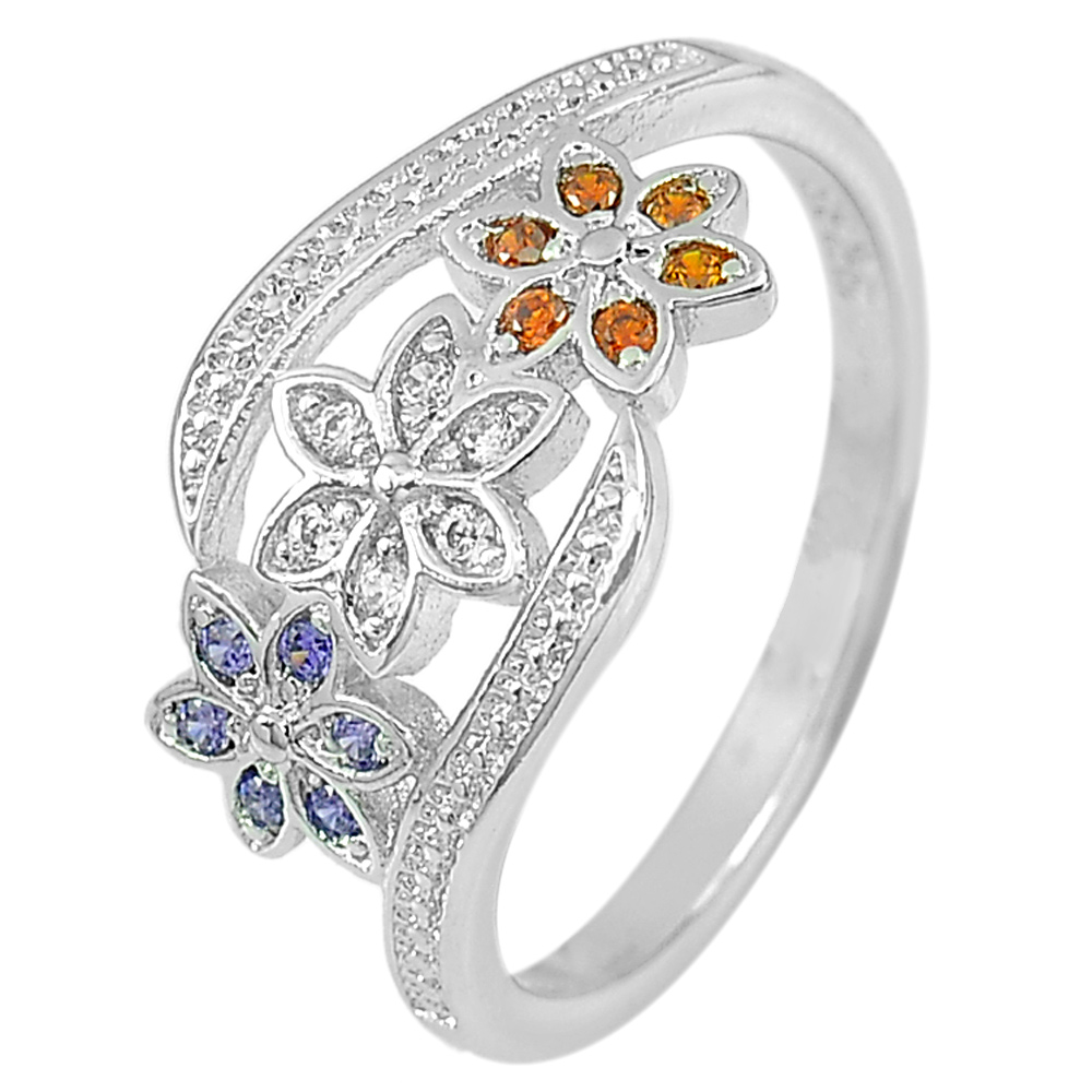 2.11 G. Nice Design Flower Multi-Color CZ Real 925 Sterling Silver Ring Size 7