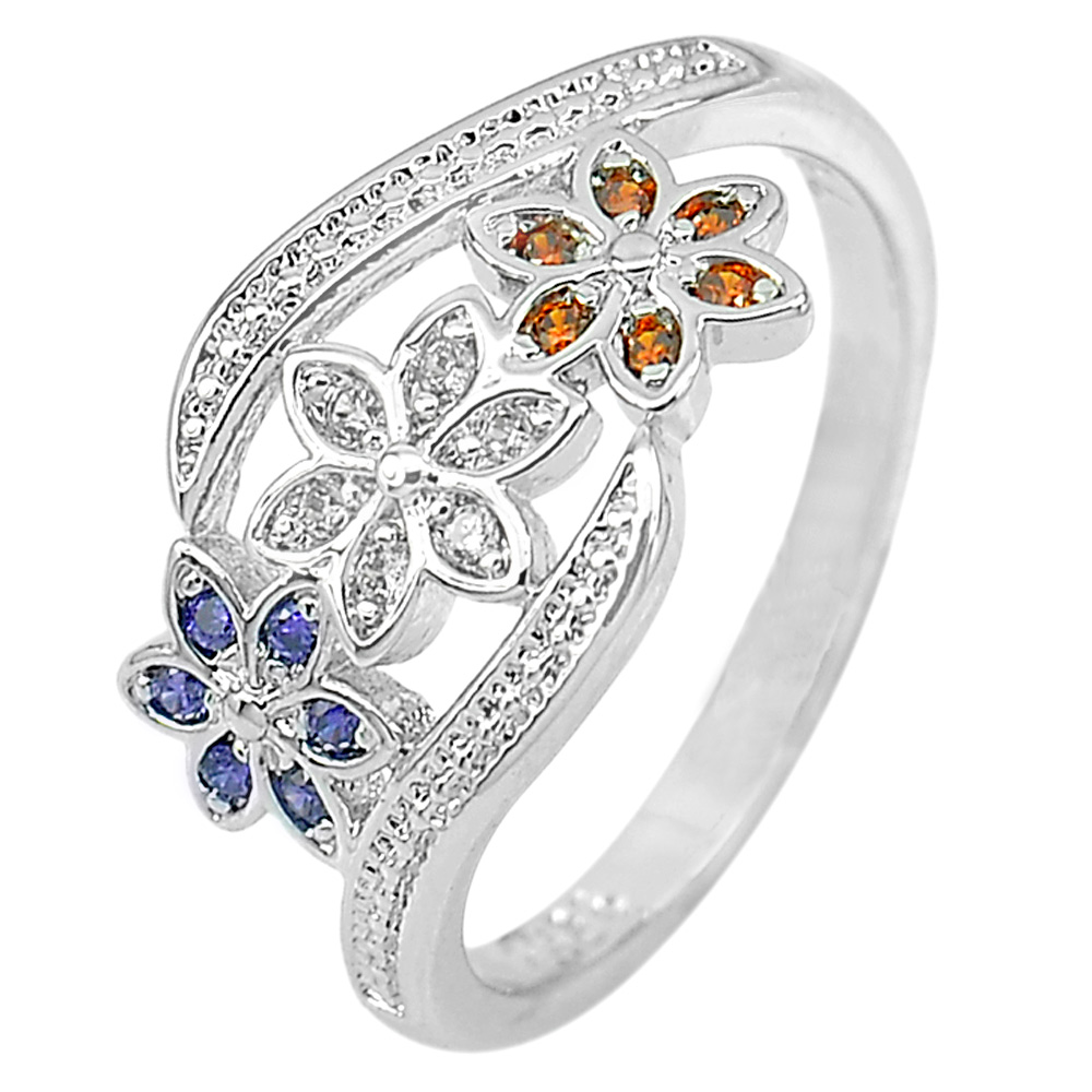 2.35 G. Nice Flower Multi-Color CZ Real 925 Sterling Silver Jewelry Ring Size 7