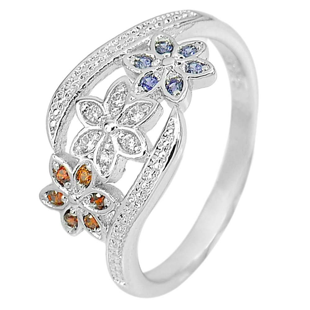 2.14 G. Beautiful Multi-Color CZ Real 925 Sterling Silver Jewelry Ring Size 6.5