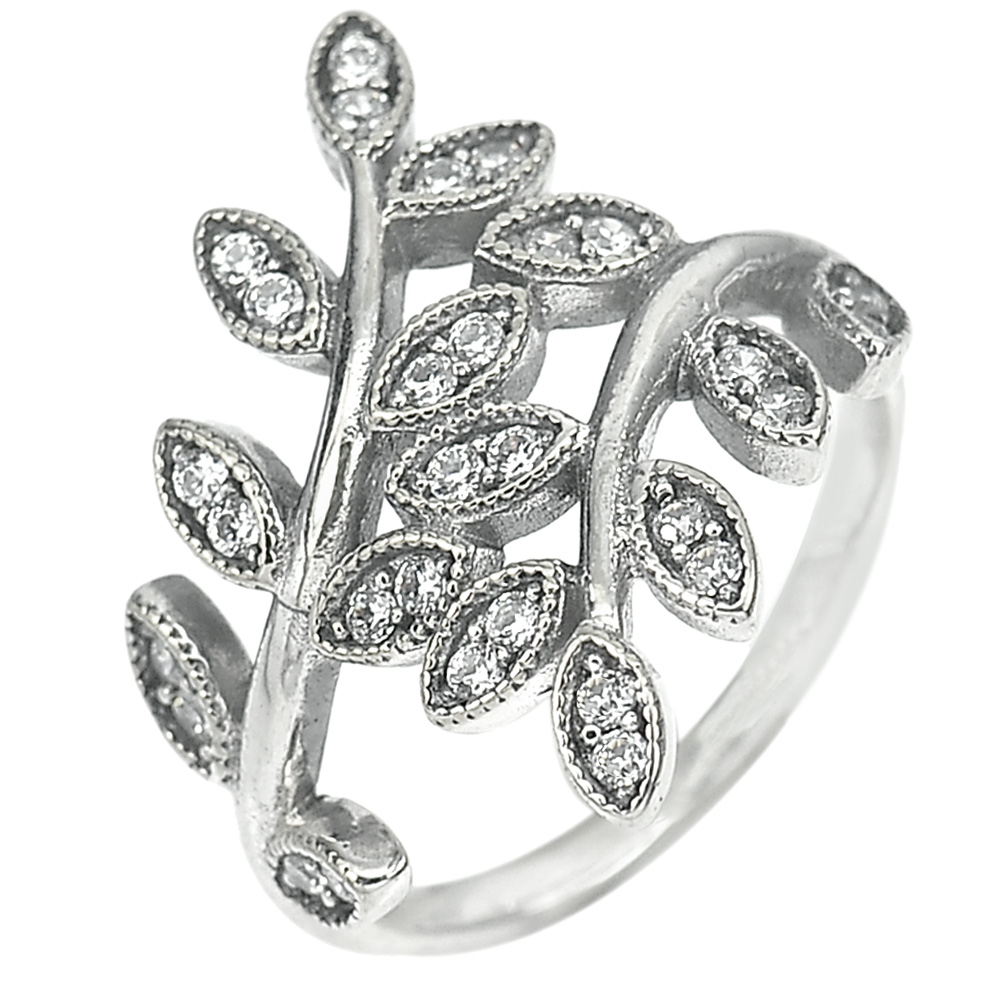 2.75 G. Nice White CZ Real 925 Sterling Oxidized Silver Olive Leaf Ring Size 6